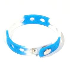 "8"" Blue and White Rubber Bracelet Wristband for Shoe Jibbitz Crocs Charms by Hermes. $6.49. Two snap closures. Length: 8"". Width: 0.75"". Great Gift 0r Give as Party Favors. More Colors Available in Our Store: Pink, Purple, Blue, Pink e t.c.. Includes 1 Rubber bracelet wristband - blue and white color (crocs charms pictured are not included). Press the holder of the Charms with a slight twist in the holes of the bracelet."