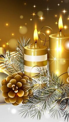 Gold Glowing Christmas Candles iPhone Wallpape feliz navidad r Christmas Scenes, Noel Christmas, Merry Christmas And Happy New Year, All Things Christmas, Vintage Christmas, Christmas Candles, Christmas Decorations, Christmas Ornaments, Illustration Noel