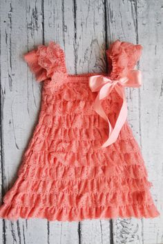 f4b7a246a6b Coral Dress Lace Romper Dress by TheSimplyChicBaby on Etsy