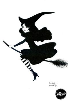 #INKtober day 12 Black witch  Original artwork ink on art paper by movezerb on Etsy