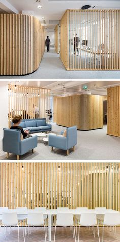 How to make a design impact using simple pieces of wood // For this office space, Studio Razavi architecture used basic pine lumber, installed vertically, to create a distinct look for an insurance company headquarters. Interior Design Home Office Space Design, Workplace Design, Office Interior Design, Interior And Exterior, Office Designs, Design Offices, Design Hotel, Design Studio, Design Commercial