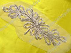 """Nuevos accesorios de la Vestido de la boda de diamante de imitación metálico bordado hecho a mano florecen patrón de telas 17 """"X6.5"""""""