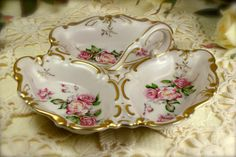 Lovely Hand Painted Porcelain Pink Roses 3 by TinyandBeautiful