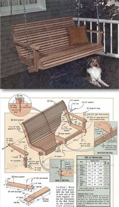 Porch Swing Plans - Outdoor Furniture Plans and Projects Diy Wood Projects, Furniture Projects, Diy Furniture, Outdoor Furniture Plans, Outside Furniture, Patio Swing, Porch Swings, Garden Swings, Bench Swing