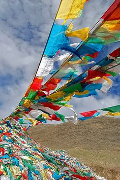 Prayer flags in Tibet carry more weight than lies. Buddha Buddhism, Tibetan Buddhism, Prayer Flags, World Of Color, Rainbow Colors, Photos, Pictures, Colours, Tibet