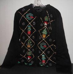 Women's OHI Ulgly Tacky Christmas Tree Party Beaded Holiday Sweater L EUC