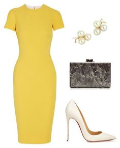 A fashion look from August 2015 featuring Victoria Beckham dresses, Christian Louboutin pumps и Edie Parker clutches. Browse and shop related looks. Work Fashion, Runway Fashion, Fashion Models, Fashion Looks, Womens Fashion, Fashion Trends, Fashion News, Vintage Outfits, Classy Outfits