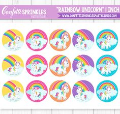 Confetti Sprinkles Party Studio - Party printables and mobile Children's parties located in Northern Indiana Sprinkle Party, Little Poney, Arts And Crafts, Paper Crafts, Bottle Cap Images, Party Props, Rainbow Unicorn, Unicorn Birthday Parties, Digital Collage