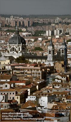 Aerial view of Madrid with Almudena Cathedral, Spain. | Cityscape by Alberto Mateo, Travel Photographer.