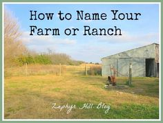 How to Name Your Farm or Ranch - some great advice!