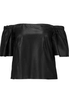 Shop on-sale Iris and Ink Off-the-shoulder leather top. Browse other discount designer Tops & more on The Most Fashionable Fashion Outlet, THE OUTNET.COM
