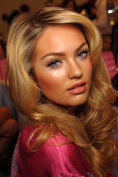 Love the color, style, and bright makeup. Victorias secret beauty
