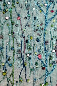 Hand embroidered delicate vine with pods