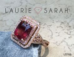 Rose Gold Rubellite Tourmaline, Pink Sapphire, And Diamond Twist Shank Engagement Ring — LS766 Laurie Sarah Designs
