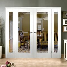 Easi-frame white primed door and frame room divider is stunning. French Doors Bedroom, French Doors Patio, Sliding Patio Doors, Folding Doors, Entry Doors, Barn Doors, Room Divider Doors, Room Doors, Door Design