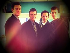 The Boys of the Jersey Boys UK Tour; Sam Ferriday as Bob Gaudio, Stephen Webb as Tommy Devito, Tim Driesen as Frankie Valli and Lewis Griffiths as Nick Massi! <3
