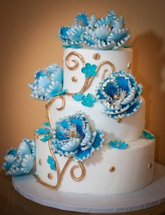 Blue Peonies themed Wedding Cake