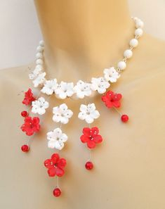 Red white jewelry  Cherry blossom Sakura  Flower by insoujewelry, $70.00
