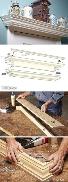 DIY Crown Molding Shelf crafts home decor tutorial Crown Molding Shelf, Moulding, Molding Ideas, Kitchen Window Valances, Moldings And Trim, Crown Moldings, Diy Crown, Diy Storage, Storage Ideas