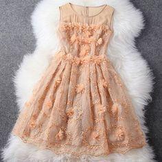 3D Flower Embroidery Elegant Ladylike Bodycon Tank Dress Sundress [grzxy6601478]