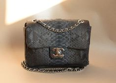 genuine python leather bag grey by OkeanaAccessories