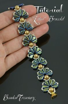 """""""LOTUS"""" beadwoven flower bracelet tutorial. The digital tutorial is written in English language and includes: - information on materials and tools needed, -step by step instruction with photos and text. Technique: bead weaving."""
