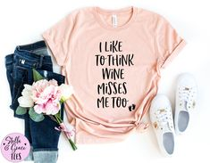 I Like to Think Wine Misses Me Too Shirt | Funny Pregnancy Shirt | Pregnancy Announcement Shirt | Baby Reveal | Funny Pregnancy Tee Funny Pregnancy Shirts, Pregnancy Announcement Shirt, Funny Shirts, Chef Shirts, Mom Shirts, Gifts For A Baker, Dance Shirts, Christian Shirts, Cotton Tee