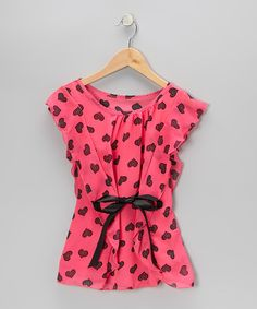Take a look at this Pink Heart Flutter-Sleeve Top on zulily today!