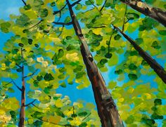 Looking Up, Fresh  Forest Art,  Contemporary Huge Original acrylic Painting 48x48. $399.00, via Etsy.