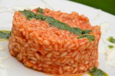 Risotto al Pomodoro con Crema di Burrata e Pesto alla francese