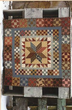Quilt Kit and Pattern: Presidents Pride by Country Threads Primitive Quilts, Primitive Folk Art, Antique Quilts, Vintage Quilts, Country Primitive, Vintage Sewing, Star Quilts, Mini Quilts, Scrappy Quilts
