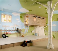 "Fabulous children's room with a ""treehouse"" style ""bunkbed"", a ""stage"" for ""performing"", lots of drawer storage and in other parts of the room a climbing rope and a swing.  -  kidtropolis.wordpress.com"
