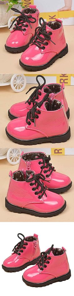 Tenworld Winter Baby Kids Boys Girls Shoes Lace-up Army Martin Boots (21, Hot Pink)