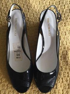 Bruno Magli - Slingback Wedge Heels - Peep Toe - Patent Leather - Black Sz 10  | eBay