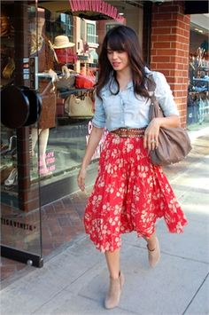jean button up shirt with belt and high waisted print skirt