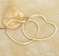 Delicate Gold Heart Hoops 14K Gold Filled by BlueWaveJewelry, $34.00