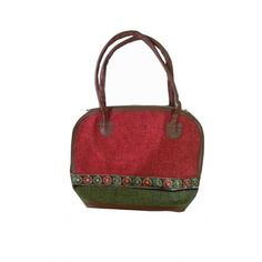 Jute Hand Bag (Red and Green)(HHESP0012)