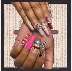 Hair And Nails, My Nails, Snapchat, Ghetto Nails, Gucci Nails, Nail Salon Decor, Glow Nails, Nail Jewels, Manicure And Pedicure