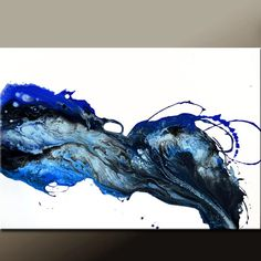 Abstract Canvas Art Painting 36x24 Original Blue by wostudios, $149.00