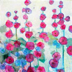 Large Abstract Floral Painting on Canvas Colorful Cheerful