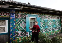 looks like cross stitch! 30,000 bottle caps decorate russian pensioner's home