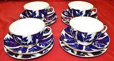 Russian Lomonosov Porcelain Cobalt Winter Nights Tea Cup, Saucer, Plate - 12 Pcs