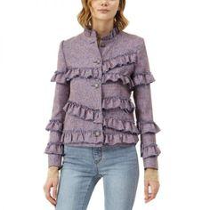 - Lena Ruffle Layered Jacket, $168