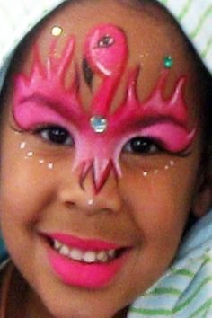 Flamingo face painting this is so cool Girl Face Painting, Belly Painting, Face Painting Designs, Painting For Kids, Animal Face Paintings, Animal Faces, Flamingo Face Paint, Flamingo Painting, Halloween Makeup