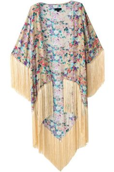 Apricot Long Sleeve Floral Tassel Long Kimono -SheIn(Sheinside)