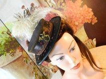 Mini Hut Damen Hut braun Rosen Steampunk Sommerhut