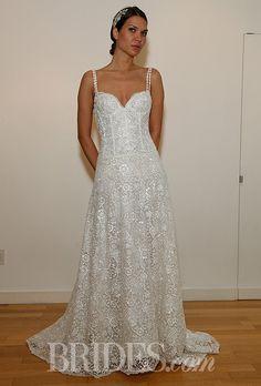 "Brides.com: Francesca Miranda - Fall 2014. ""Christine"" sleeveless lace A-line wedding dress with a sweetheart neckline and beaded spaghetti straps, Francesca Miranda"