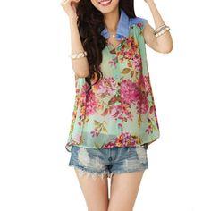 Amazon.com: Allegra K Ladies Jeans Point Collar Sleeveless Single Breasted Chiffon Blouse Green XS: Clothing