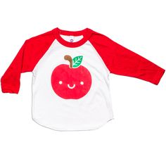 The perfect fall/back to school shirt! Add a little colour to your little ones waredrobe with our Kawaii Apple design.     Hand screen printed with 3 colors with eco-ink which is great for the environment and not harmful to your little ones skin.