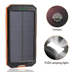 LANIAKEA 12000mAh Waterproof Solar Charger 9 LED Lights Outdoor Solar Panel Charger Backup Dual USB Power Bank with Flashlight  Compass for Smart phones and Other USB Devices Orange * Find out more about the great product at the image link-affiliate link